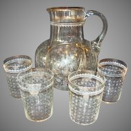 REDUCED! Floral Etched Water Pitcher and Set of Four Tumblers ~ Hand Blown ~ Melon Shape ~ Late 1800's.