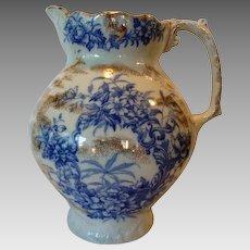 Amazing Earthenware Water Pitcher ~ Blue Floral Transfers ~ Alaska Pattern ~ C. & H. Cockson & Harding Cobridge Staffordshire 1856-1863