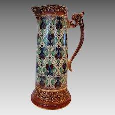 Large Tankard / Pitcher ~ Colorful Faience / Earthenware Haynes Balt Ware ~ Art Deco Pattern ca.1900 -1914 ~ DF Haynes (Chesapeake Pottery)