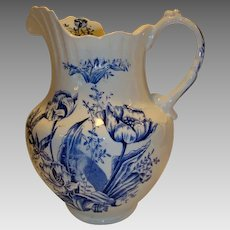 "Awesome 12"" Earthenware Water Pitcher ~ Cobalt transfers of Tulips ~ late 1800's / early 1900's"