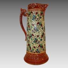 Colorful Faience / Earthenware Tankard / Pitcher~ Haynes Balt Ware ~ Art Nouveau Pattern ca.1900 -1914 ~ DF Haynes (Chesapeake Pottery) Baltimore Maryland