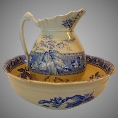 Fantastic  Bowl And Pitcher Set ~ Blue & White English Earthenware Berry or Nut Design ~  Late 1800's – Early 1900's