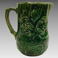 Wonderful Old Earthenware Pitcher ~ Raised Relief Green  Flowers