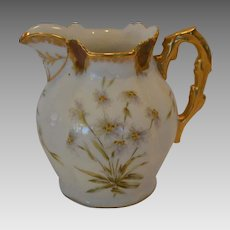 Awesome Antique Limoges Pitcher ~ Hand Painted with Enameled Enhanced Flowers ~ Latrille Feres Limoges France 1899-1913 / Pitkin  & Brooks Chicago IL
