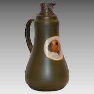 """Wonderful Old Earthenware Pitcher with Bull Mastiff named """"King"""" Decal and Silver Spout ~ Taylor Tunnicliffee 1875 – 1898"""