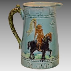 Fantastic French Majolica Pitcher ~ Joan of Arch ~ Fives Pottery Factory – Gustave De Bruyn ~ Lille France 1890-1950