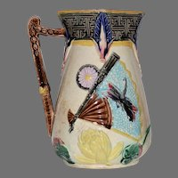 Beautiful Majolica Pitcher ~ Turquoise with Fans, Dragonflies, Lotus Blossoms & Prunus Flowers