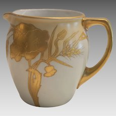 Porcelain Water / Juice Pitcher ~ Bavarian ~ Hand Painted with Encrusted Gold Poppy Flowers