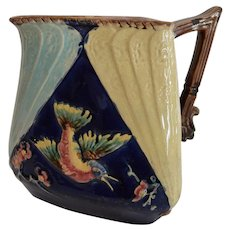 Large Majolica Pitcher ~ Birds and Insects ~ Offset Handle ~ England 3/17/1883