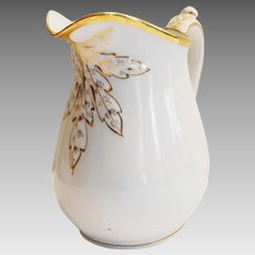 Large French Pitcher ~ White with Gold Accents ~ Haviland & Co Limoges France 1876-1888