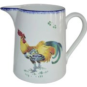 French Faience Pitcher  ~ with Roosters ~ Les Coqs  ~ 6 Cups ~ Keller Guerin  Luneville France 1890-1900's