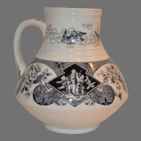 Transferware Pitcher / Jug ~ Floral and Oriental Design ~ Sado Pattern ~ Brownfield & Son 1850-189