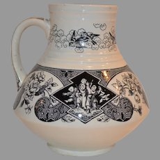 Transferware Pitcher / Jug ~ Floral and Oriental Design ~ Sado Pattern ~ Brownfield & Son 1850-189