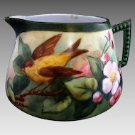 50% OFF! Porcelain Lemonade / Cider Pitcher ~ Hand Painted with a Pair of Goldfinch with Apple Blossoms ~ Artist Signed