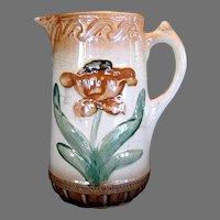 Majolica Pitcher ~ Raised Tulip Design