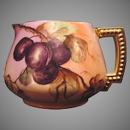 Delightful Limoges Porcelain Lemonade / Cider Pitcher ~ Hand Painted with Deep Purple Plums ~ JPL Jean Pouyat ~ ca.1890 – 1900's.