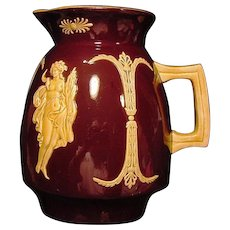 Majolica Pitcher ~ Brown English Glaze ~ Decorated with Goddess Appliques
