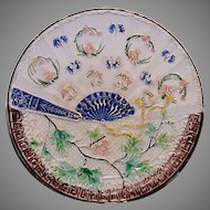 Wonderful Majolica Plate ~ Decorated with Cobalt Blue Fan Design & Flowers