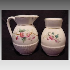 Wonderful Ironstone Pitcher and Toothbrush Holder Decorated with Flowers ~ William Brunt Jr & CO Ohio USA 1860-1877