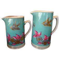2 Awesome Earthenware Pitchers with Polychrome Bird and Flower Design ~ Unattributed