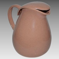 Covered Water Pitcher~ Coral Colored ~ Russel Wright American Modern 1930's~ Made by Steubenville Pottery Steubenville, Ohio 1904-1976