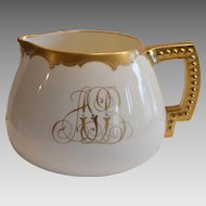 Beautiful Belleck Porcelain Lemonade / Cider Pitcher ~ Hand Painted with Gold Embossed Design ~ Pickard Chicago IL /  Lenox American Belleek 1889-1906