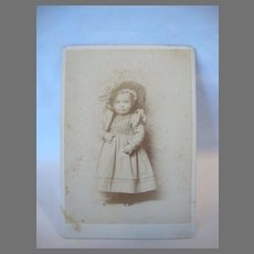 Cabinet Card Photo ~ Little Girl In Hat ~ by Renown Photographer Isaiah West Taber Reno Nevada 1871- 1906