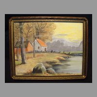 Beautiful Original Pastel Chalk Picture of House with Mountains and Lake ~ Signed U. Wilbanks 1900's