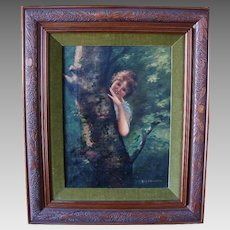 Delightful Framed Oil on Canvas of Girl by Tree ~ by Astrid F Okerlund (1939)