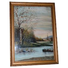 Framed Watercolor of Stream and Church ~ Artist E Willard Late 1800's –Early 1900's - Red Tag Sale Item