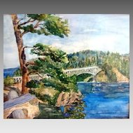 "Fantastic Ink and Watercolor of ""Deception Pass"" in Anacortes Washington by Clara Elsene Peck 1883-1968"