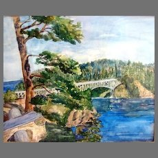 Painting Deception Pass in Anacortes Washington Ink and Watercolor by Clara Elsene Peck 1883-1968