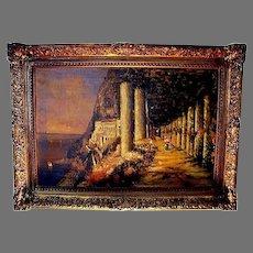 PIC30BRIG: Italy's Amalfi Coast - Capri Landscape Scene -Oil on Canvas ~ Circa 1893-1897,  ~ Signed  Nicholas Briganti (b.1861-d.1944).
