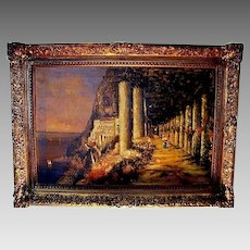 PIC30BRIG: Nicholas Briganti Oil on Canvas ~ Circa 1893-1897, Italy's Amalfi Coast - Capri Landscape Scene ~ Signed  Nicholas Briganti (b.1861-d.1944).