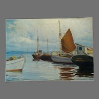 "Wonderful Dutch Nautical Scene Hand Painted Oil on Canvas 37"" L x 26 1/2"" W by Hans Brondsvig"