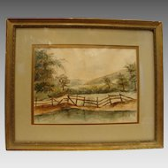 Original Watercolor on paper ~ Country Landscape with Pond ~ Gold Gesso Frame w/glass  dated 04/10/1902