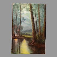 Nice Antique Chalk  Pastel Picture of Man in woods with Campfire ~ signed Veita – 1887-1917
