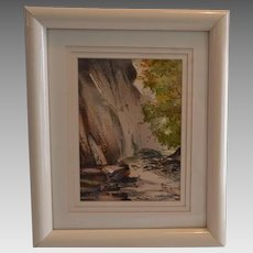 Original Watercolor of American Landscape ~ Yosemite ~ Framed and Matted ~Artist Dory Grade 1989 California