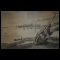 Awesome Original Charcoal Drawing of Boats and Sea Shore