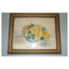 Amazing Original Watercolor of Yellow Poppies in Bowl Framed and Under Glass