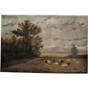 Beautiful Antique Oil Painting on canvas of a Pastoral Scene with Cows and Sheep ~ late 1800's