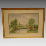 Water Color of Landscape with Tree and Stream – Signed GS Wickham 1958