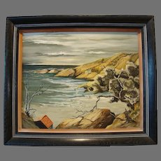 Beautiful Original California Coastal Painting ~ Oil on Board ~ by Wanda Rhoades 1953