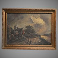 Original Framed Oil on Canvas ~ People and Church at Night ~ early 1900's