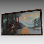 Large Antique Chalk Pastel Picture of Man in woods with Campfire ~ signed Emma G – 1922