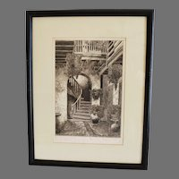 Beautiful Etching ~ The Marchand Court Old New Orleans signed by  Eugene E. Loving (1908-1971)