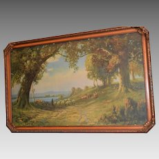 Indian Summer ~  Framed Print with Sheep by R. Atkinson Fox  (1860-1935)
