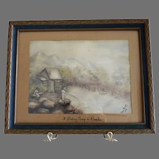 "Original Watercolor ""A Fishing Camp in Alaska"" ~ Signed Van Gundy 1938, framed under glass"