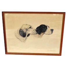 English Setter & Pointer Dogs ~ Original Watercolor ~ Jean Herblet (Borris O'Klein) 1893 – 1985 Paris France