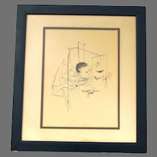 Rare Original David Stone Martin 1913-1992 ~ Baby with Bird Mobile ~ Pen & Ink ~ Signed
